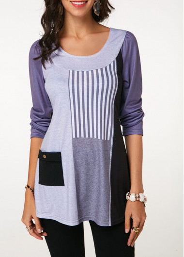 Women's Long Sleeve Color Block Tunic Shirt With Pocket - L