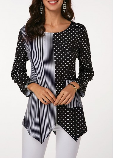 Women's Long Sleeve Striped And Dot Print Blouse - L