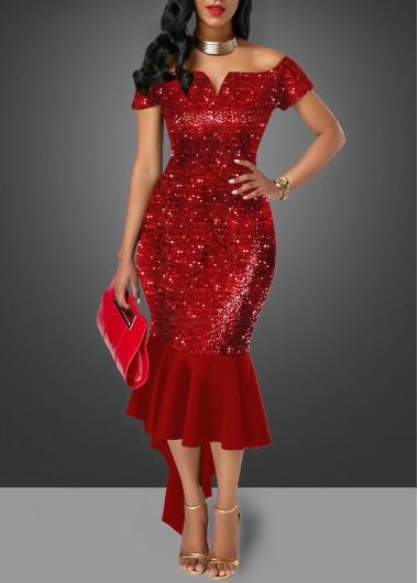 Off the Shoulder Sequin Embellished Wine Red Sheath Dress