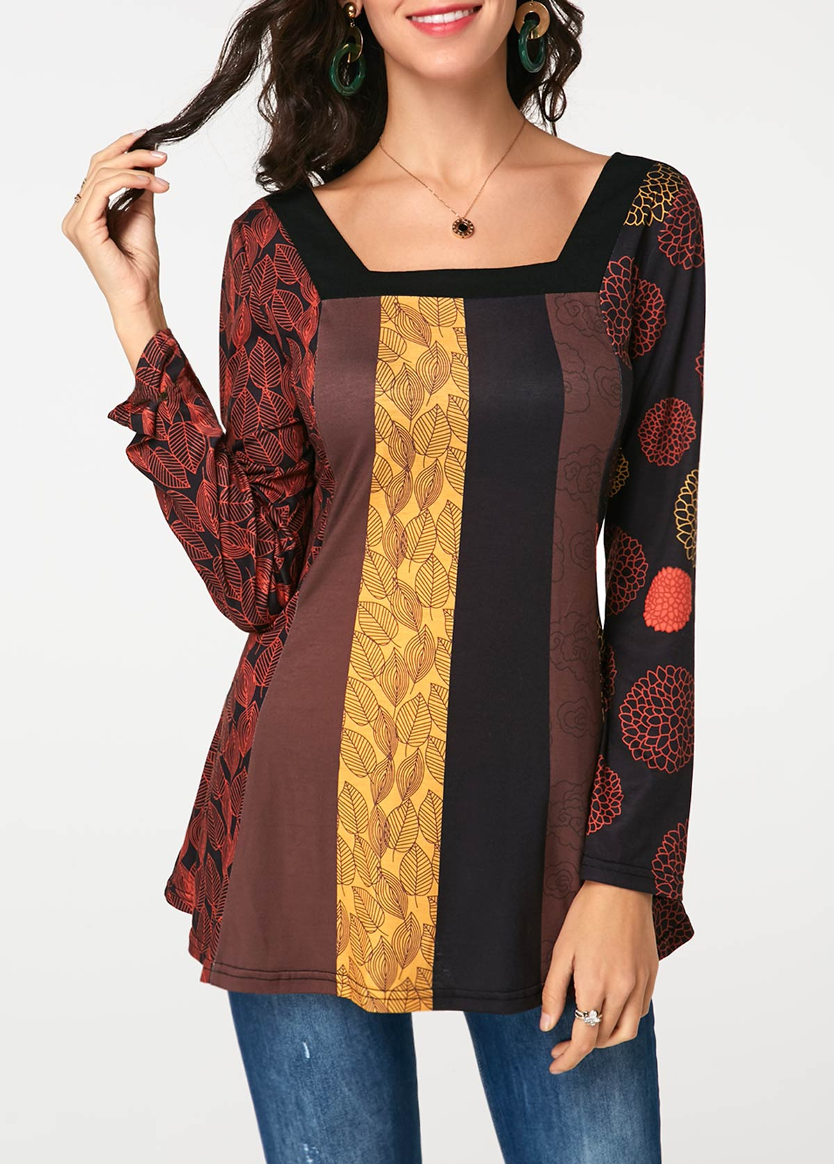 Square Neck Printed Long Sleeve T Shirt