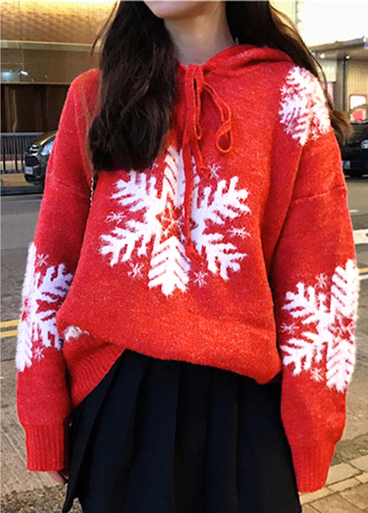 Christmas Hooded Collar Snowflake Pattern Pullover Sweater