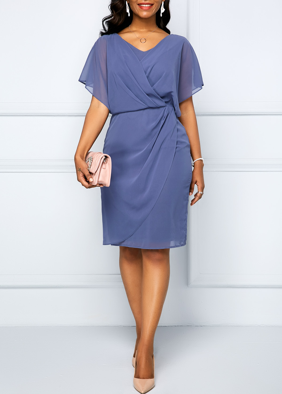 Cape Shoulder Dusty Blue Draped Surplice Chiffon Dress