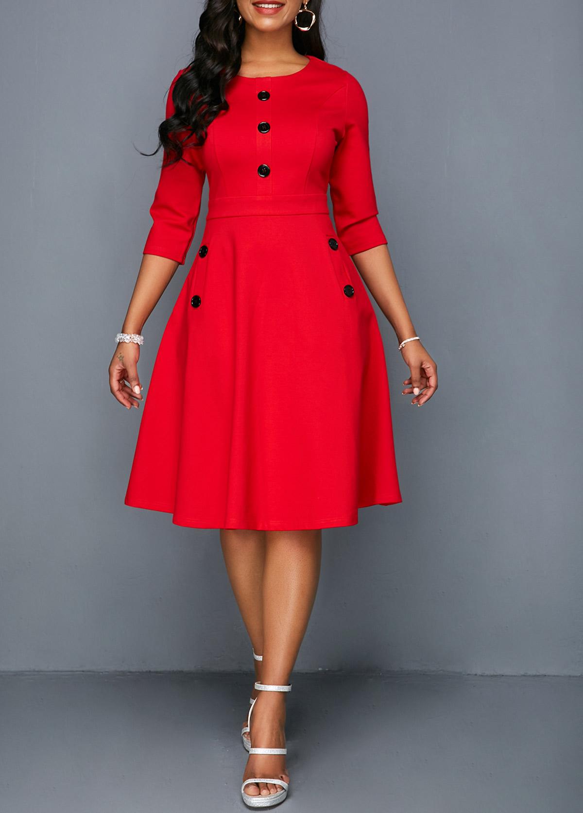 Button Embellished Pocket Red A Line Dress