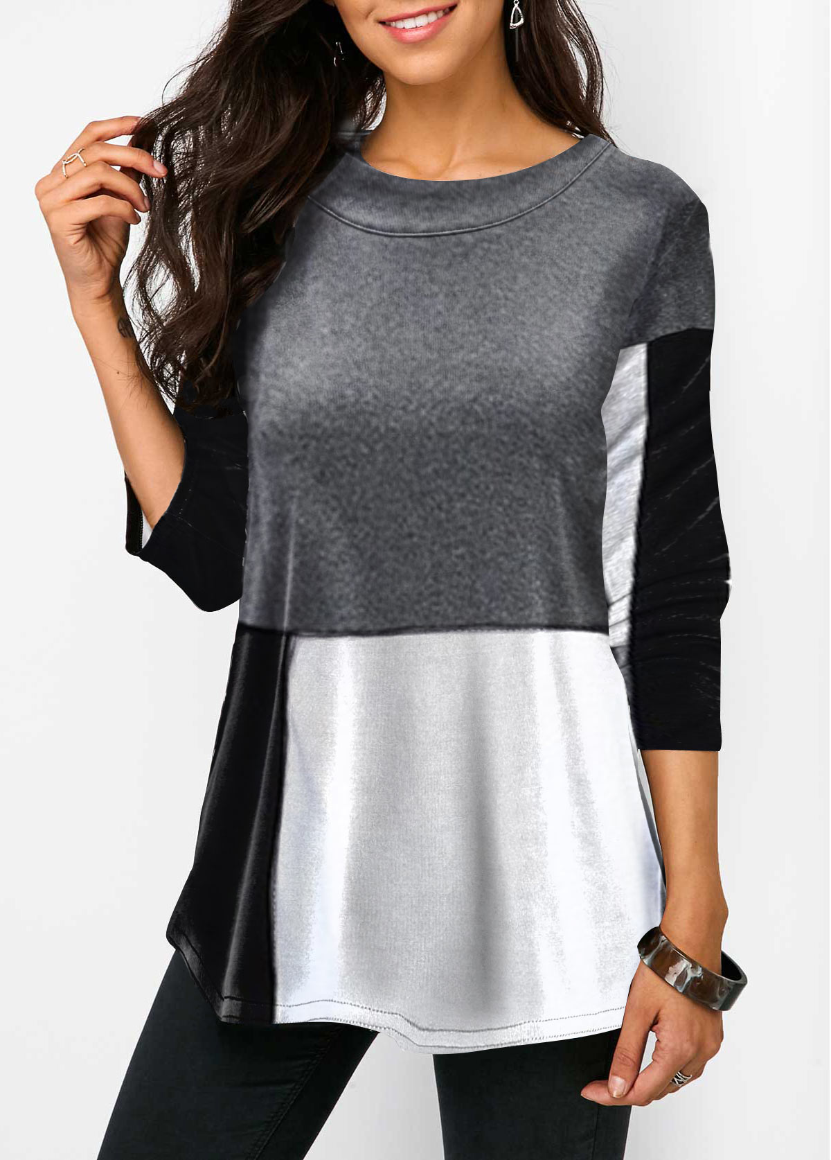 Color Block Three Quarter Sleeve Tunic T Shirt