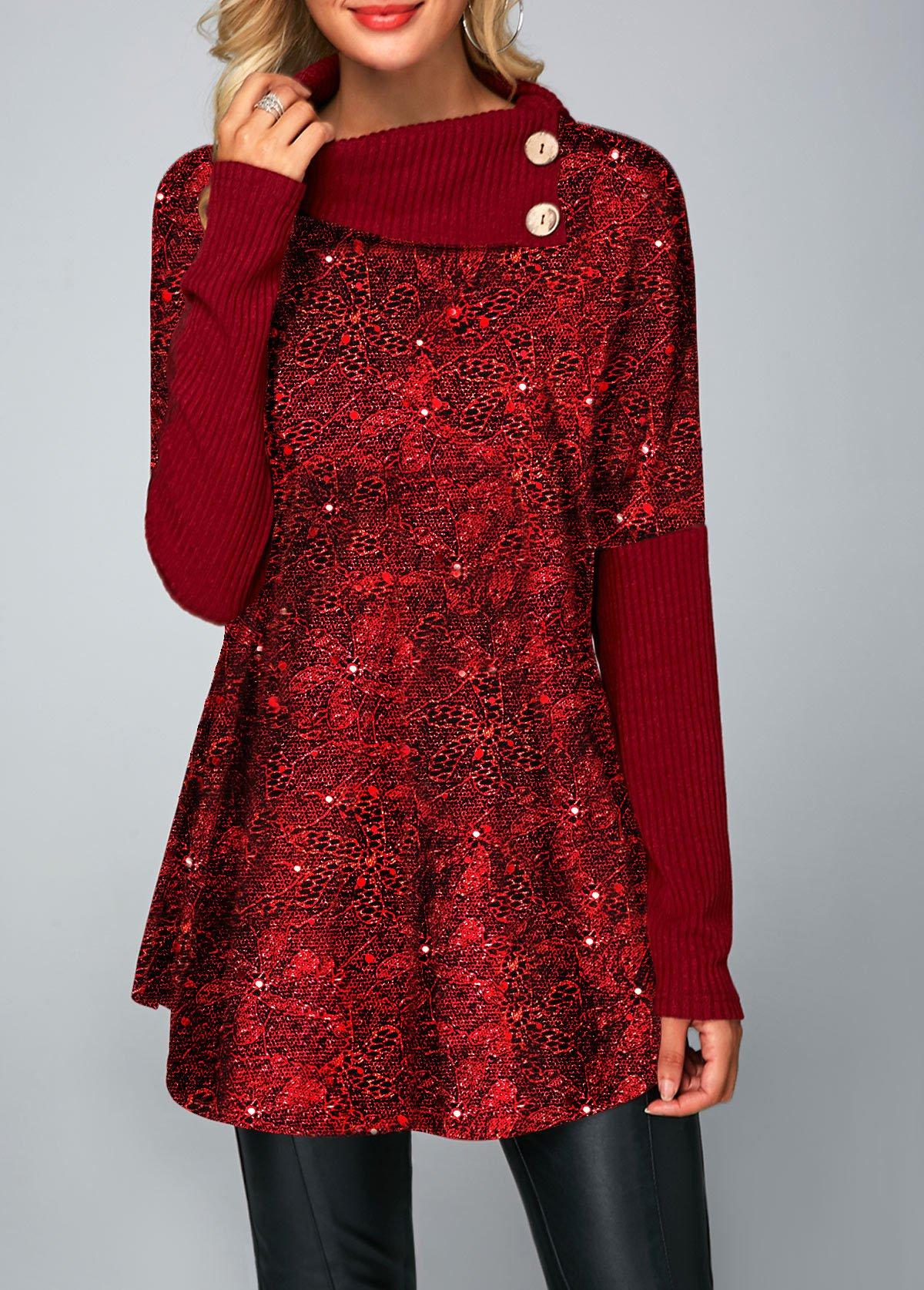Wine Red Button Detail Long Sleeve Shining T Shirt