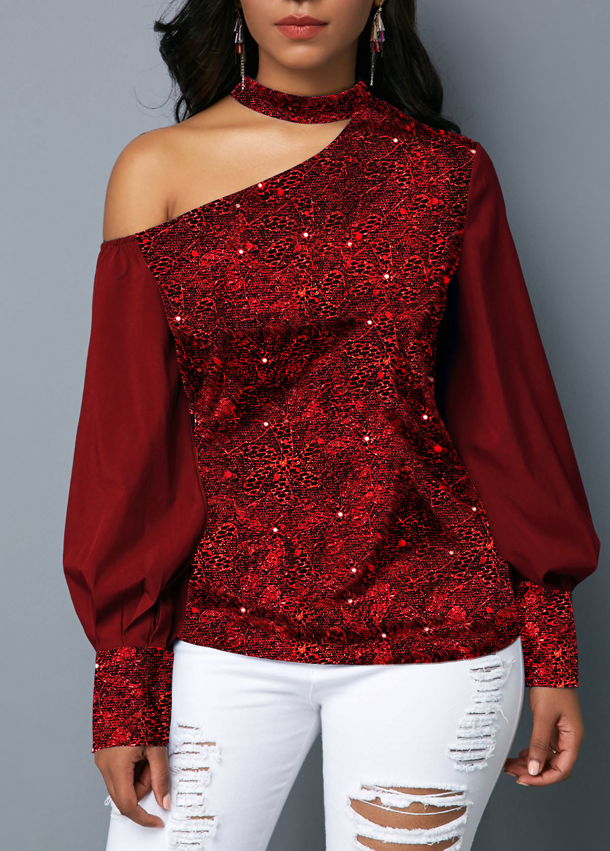 Wine Red Mock Neck Cutout Shoulder Shining Blouse