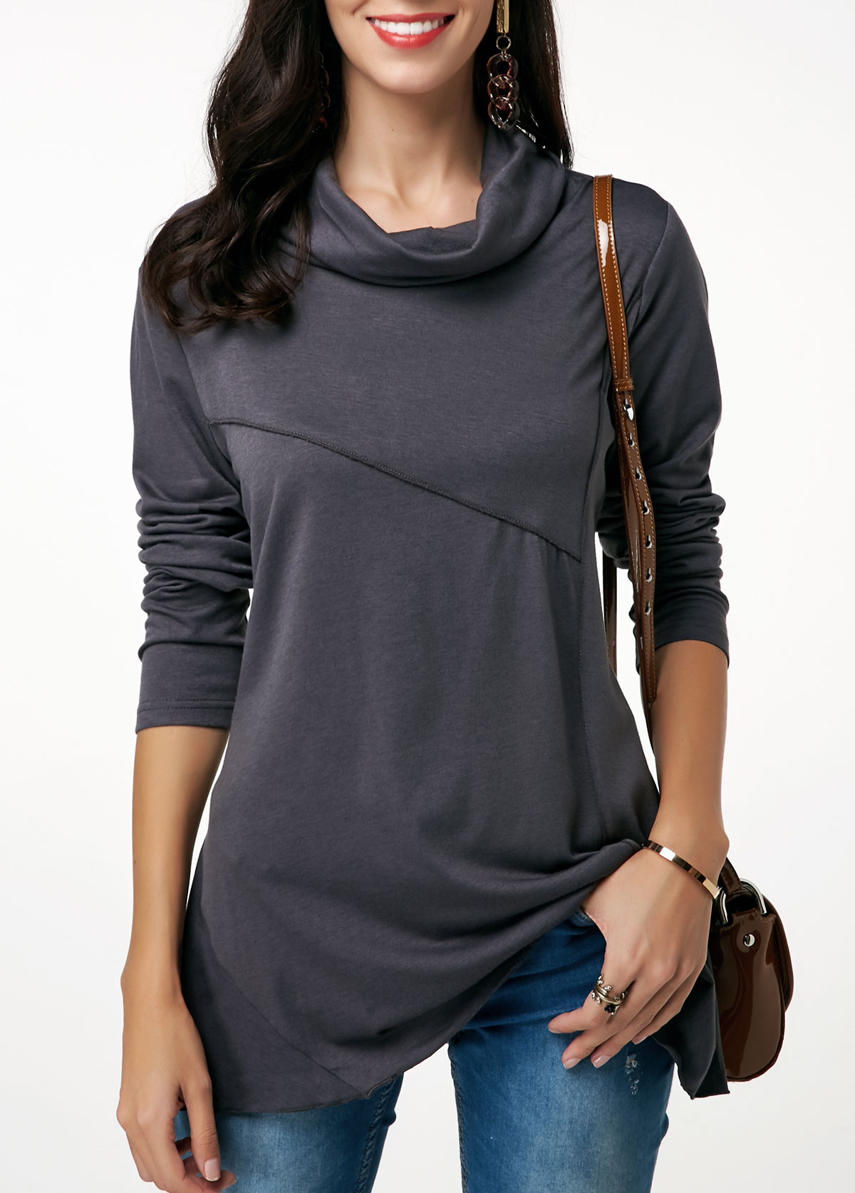 Cowl Neck Long Sleeve Dark Grey Tunic T Shirt