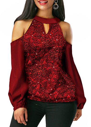 Keyhole Neckline Cold Shoulder Wine Red Shining Blouse