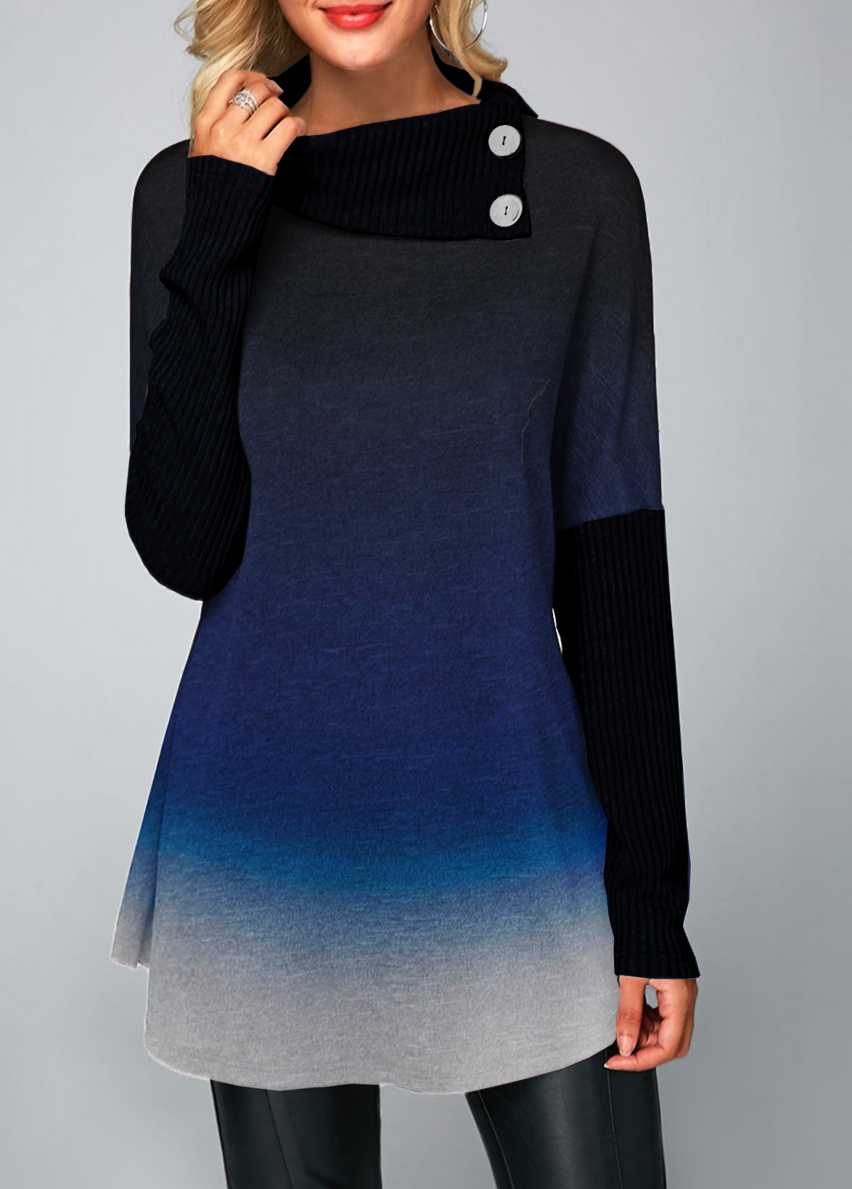 Long Sleeve Button Embellished Ombre T Shirt