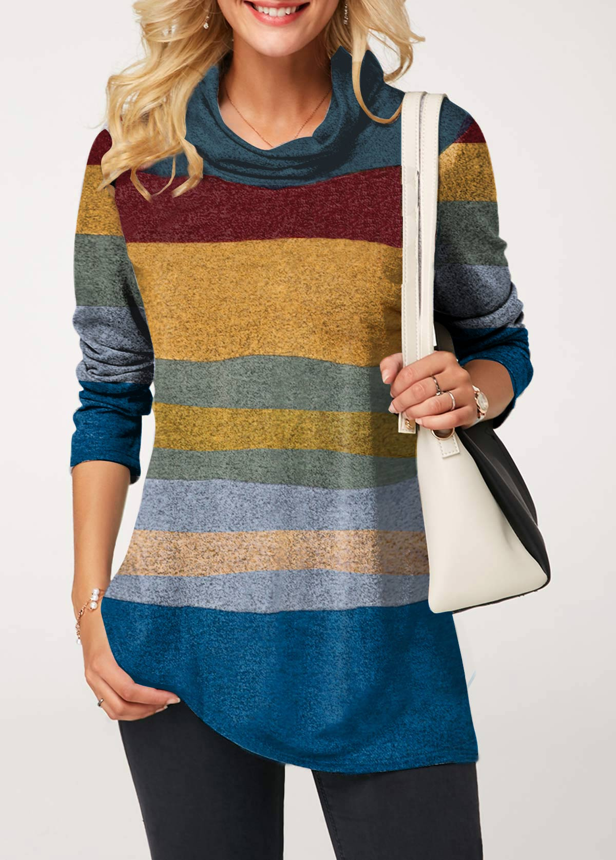 Cowl Neck Long Sleeve Color Block T Shirt