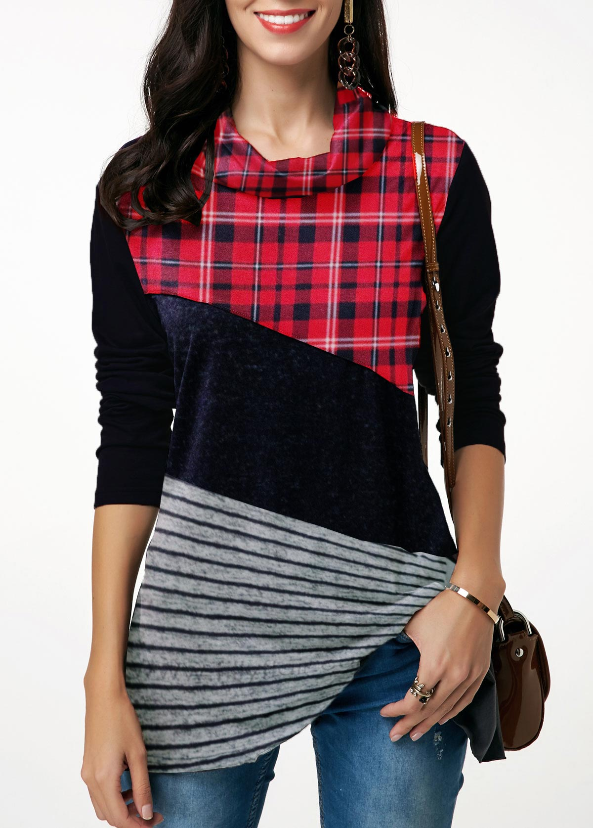 Cowl Neck Plaid Print Long Sleeve Patchwork T Shirt