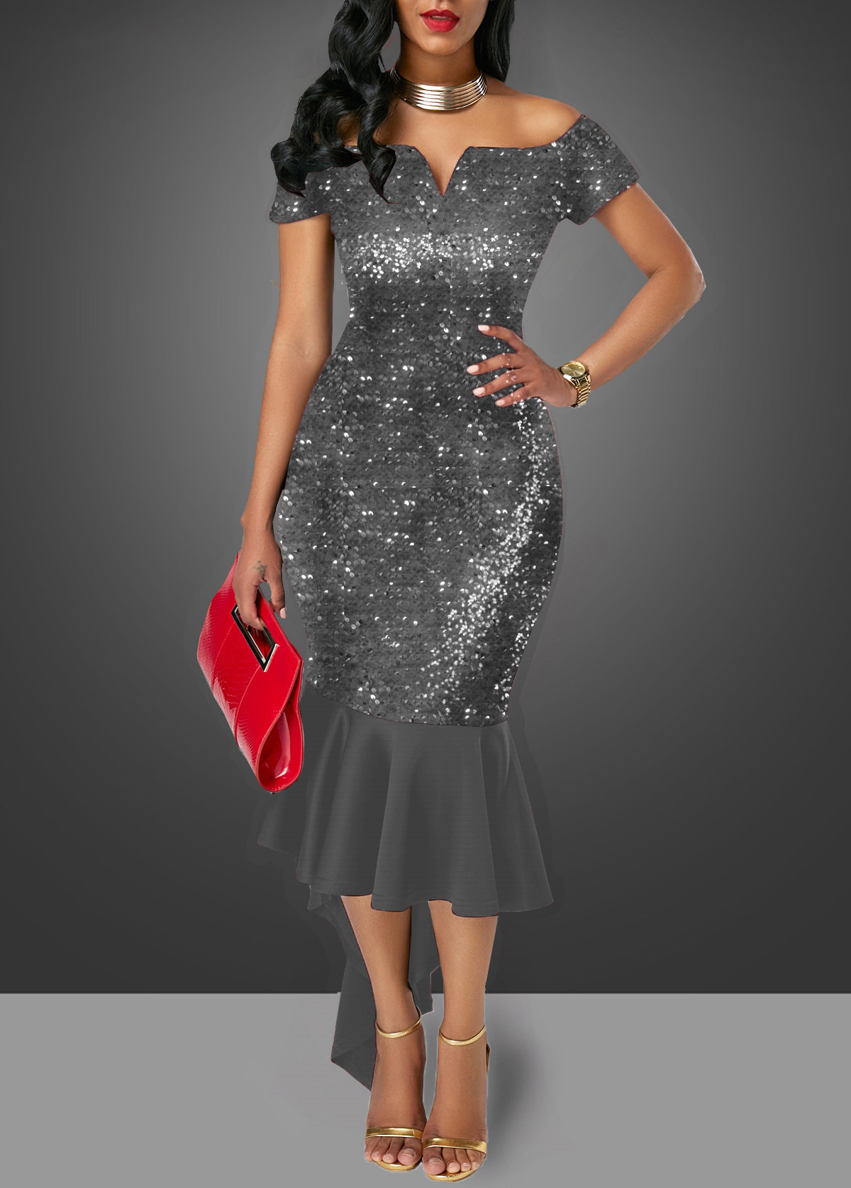 Off the Shoulder Sequin Embellished Dark Grey Sheath Dress