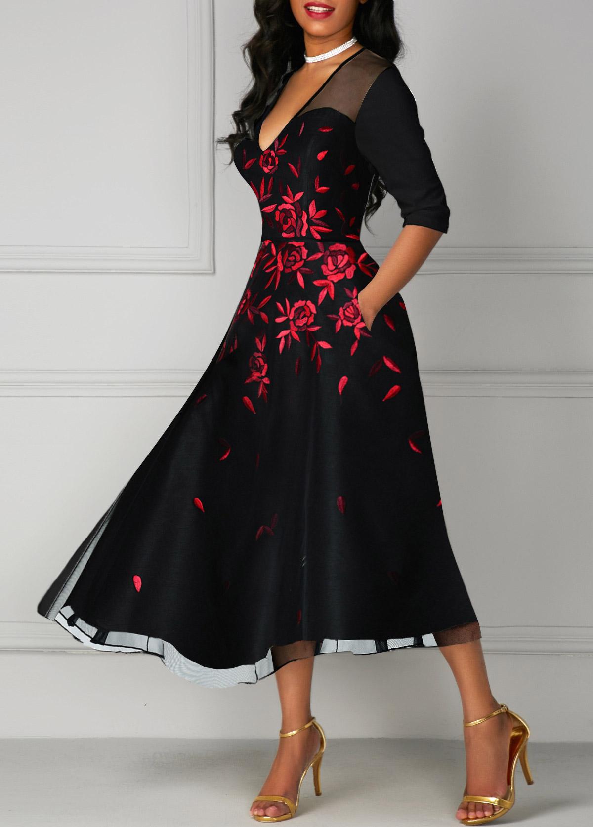 Flower Print V Neck Mesh Panel Black Dress