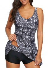 Printed-Round-Neck-Strappy-Swimdress-and-Black-Shorts