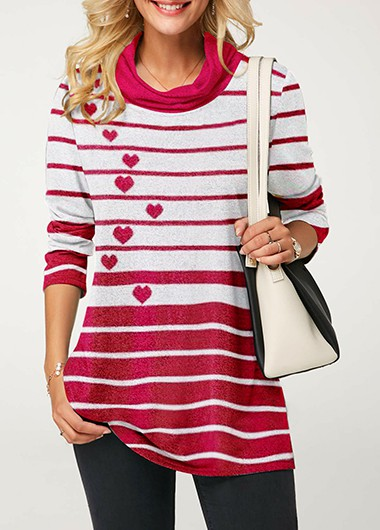 Valentines day Cowl Neck Heart Print Striped Tunic Top - M