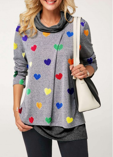 Valentines day Grey Cowl Neck Heart Print Long Sleeve Cute Tunic Top - XL