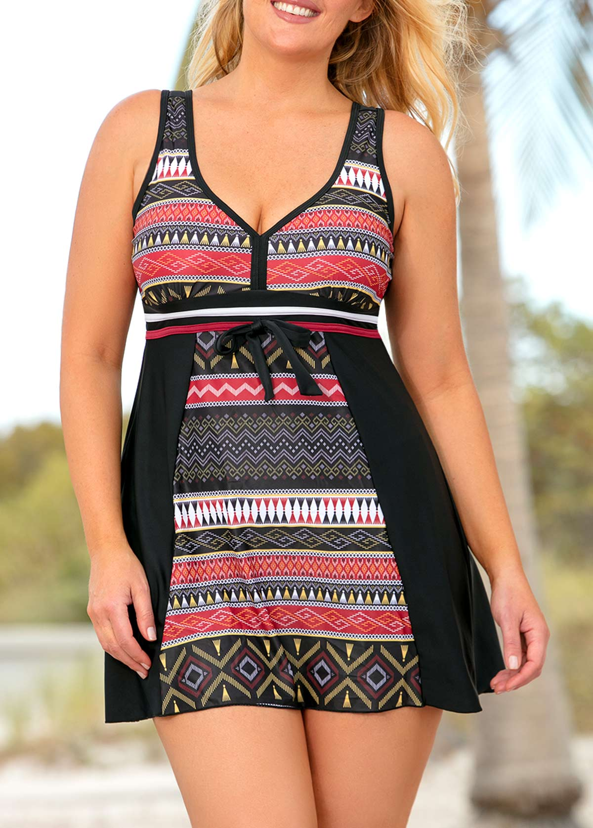 Plus Size Geometric Print V Neck Swimdress and Shorts