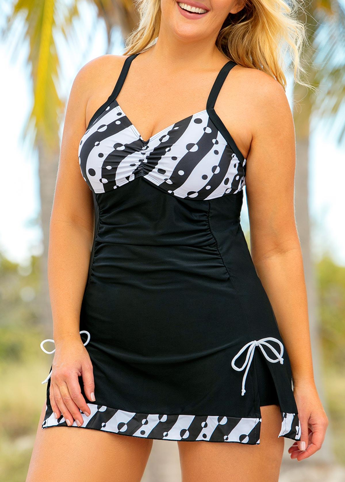 Side Slit Spaghetti Strap Plus Size Swimdress and Shorts