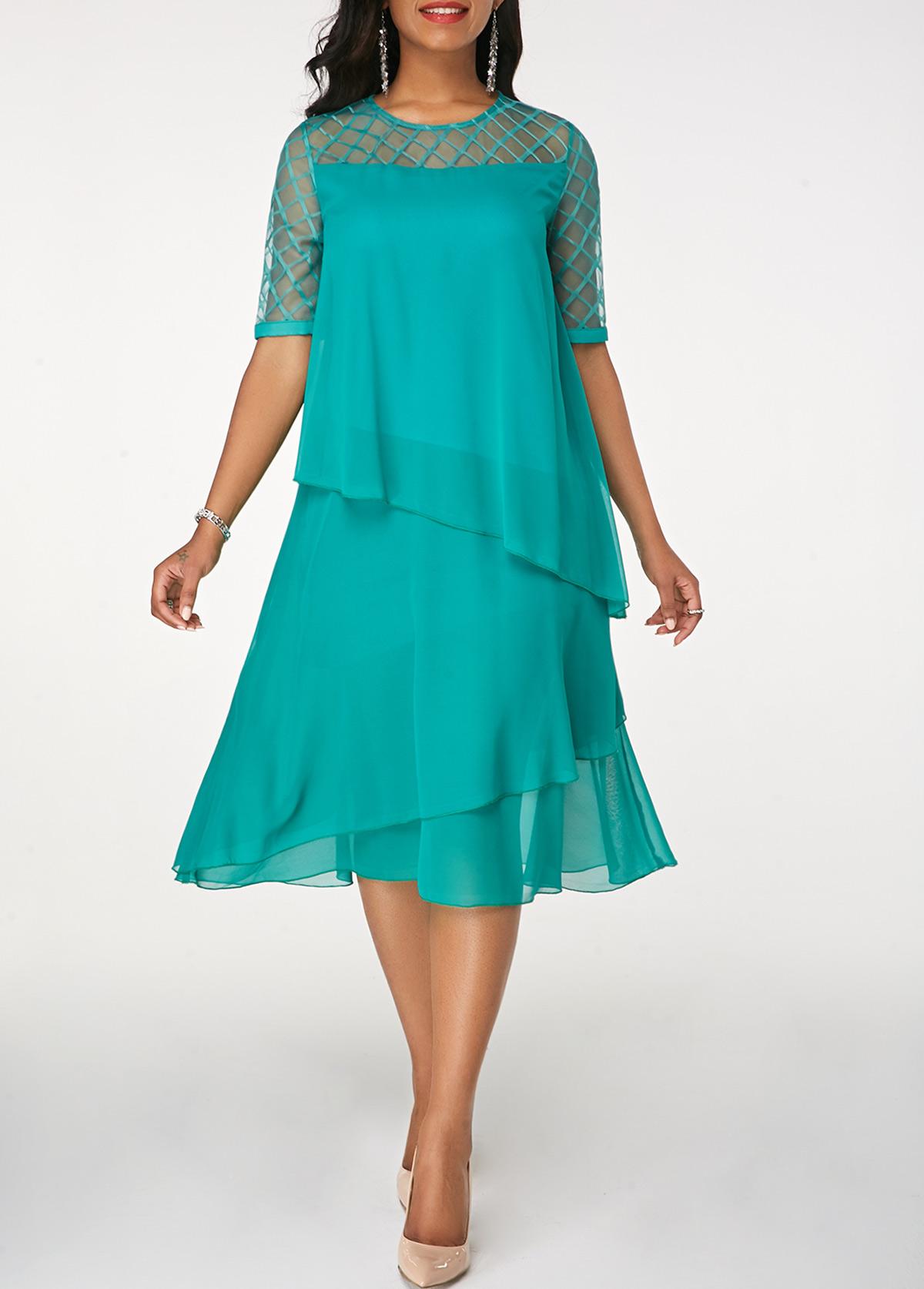 Round Neck Half Sleeve Layered Chiffon Dress