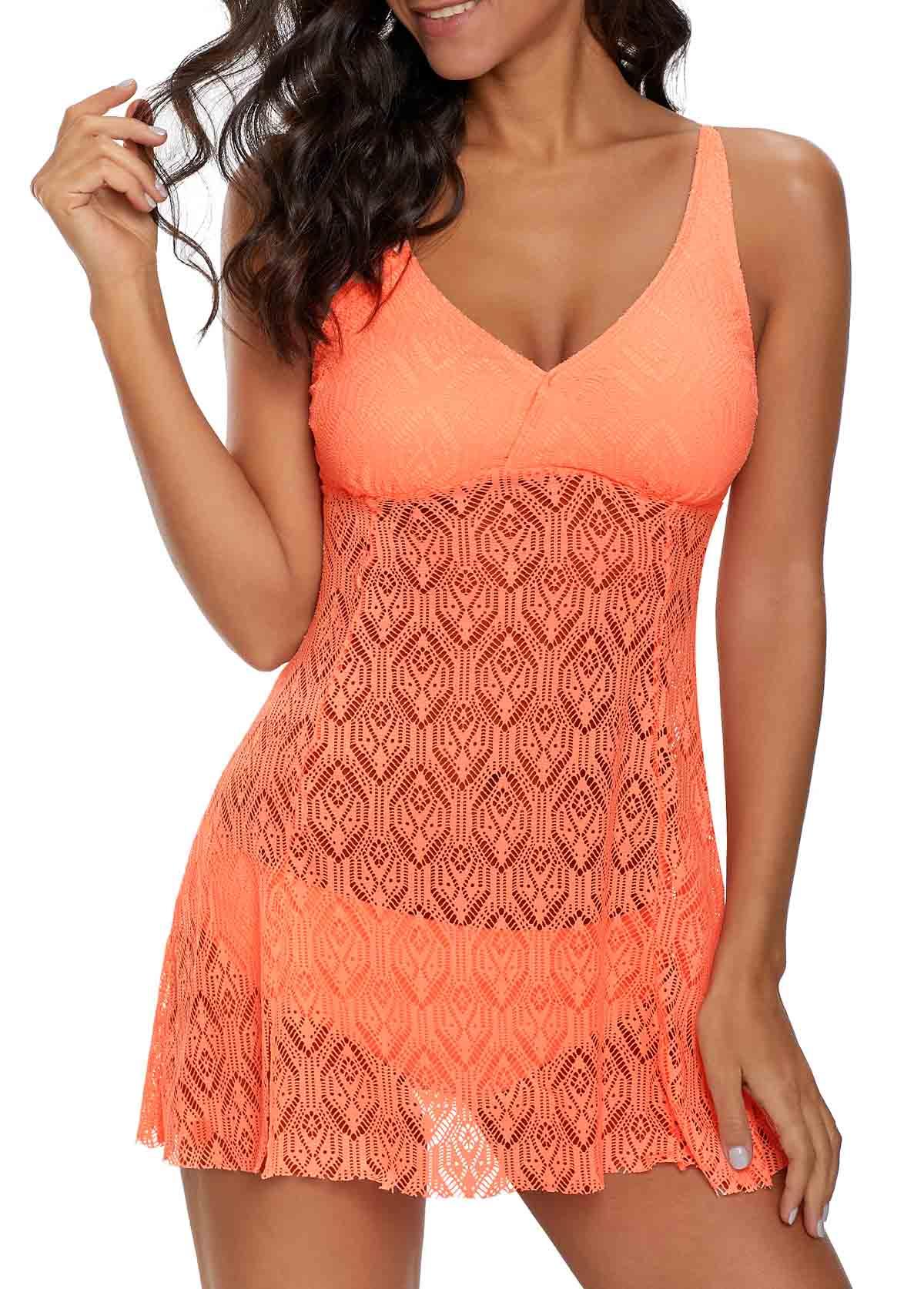 Coral Orange V Neck Laser Cut Swimdress and Panty