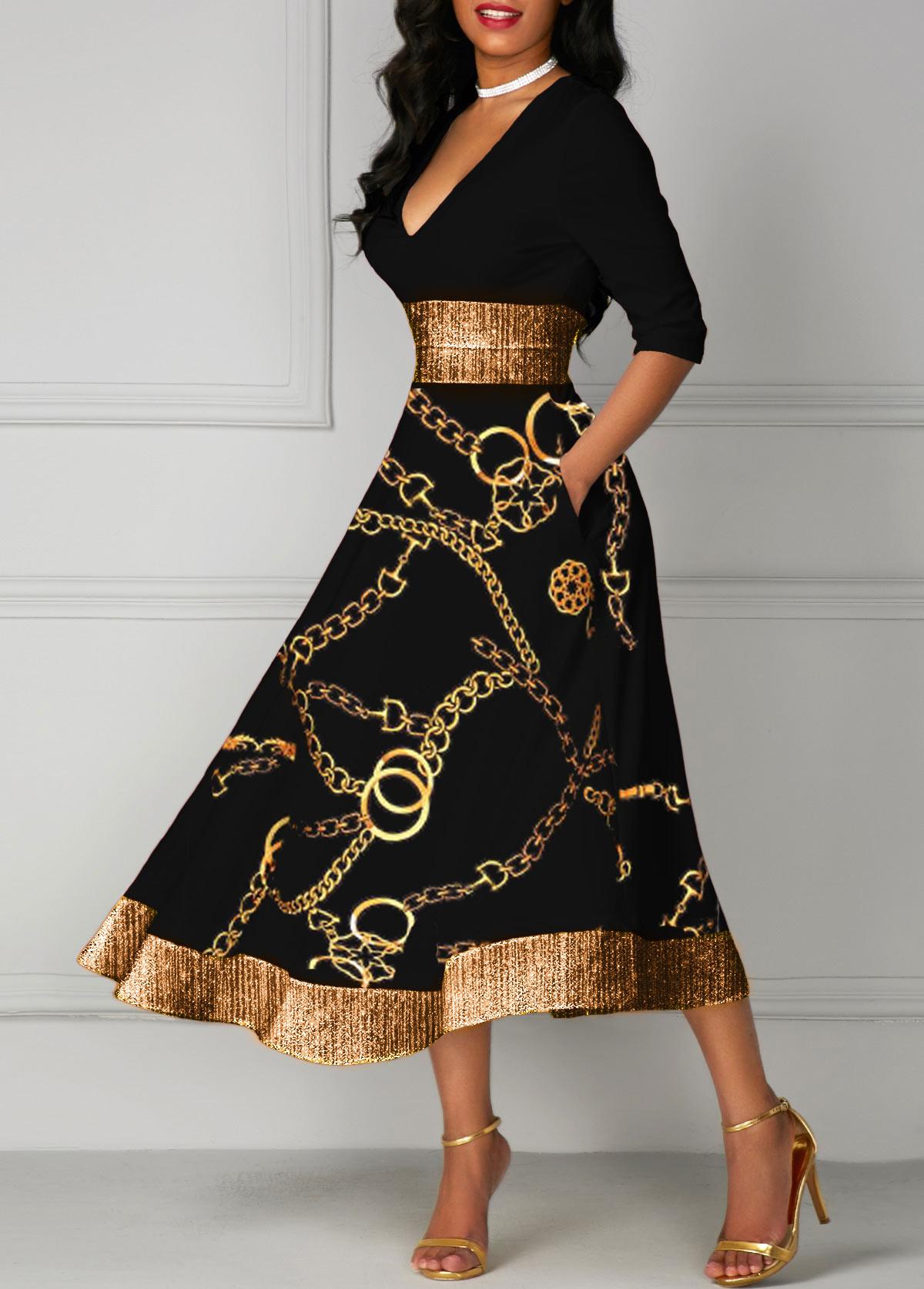 V Neck Gold Chain Print Glitter Midi Dress
