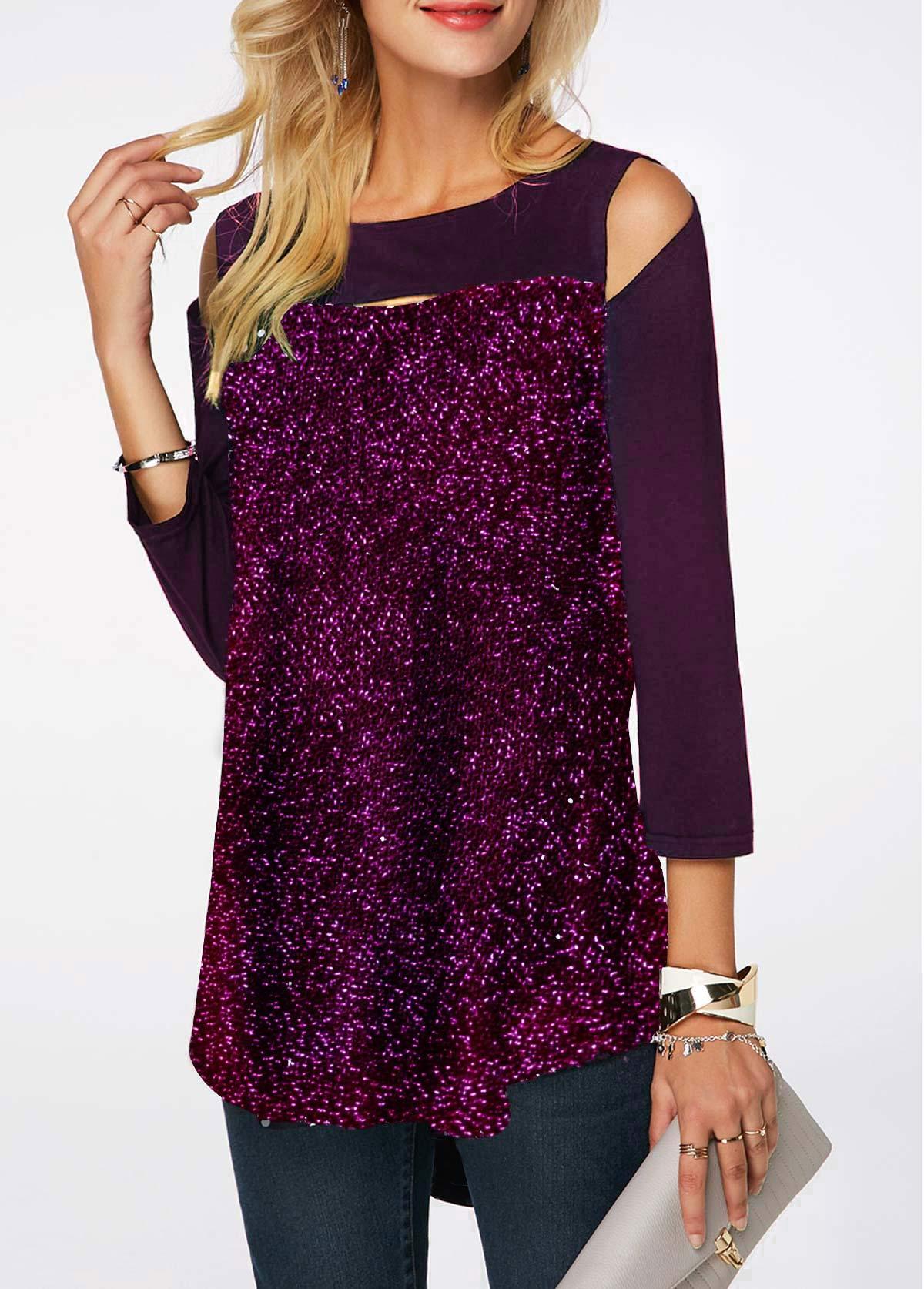 Cold Shoulder Deep Purple Shining T Shirt