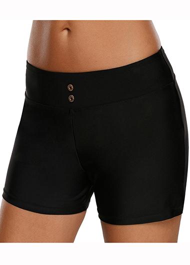 Mid Waist Solid Black Swimwear Shorts