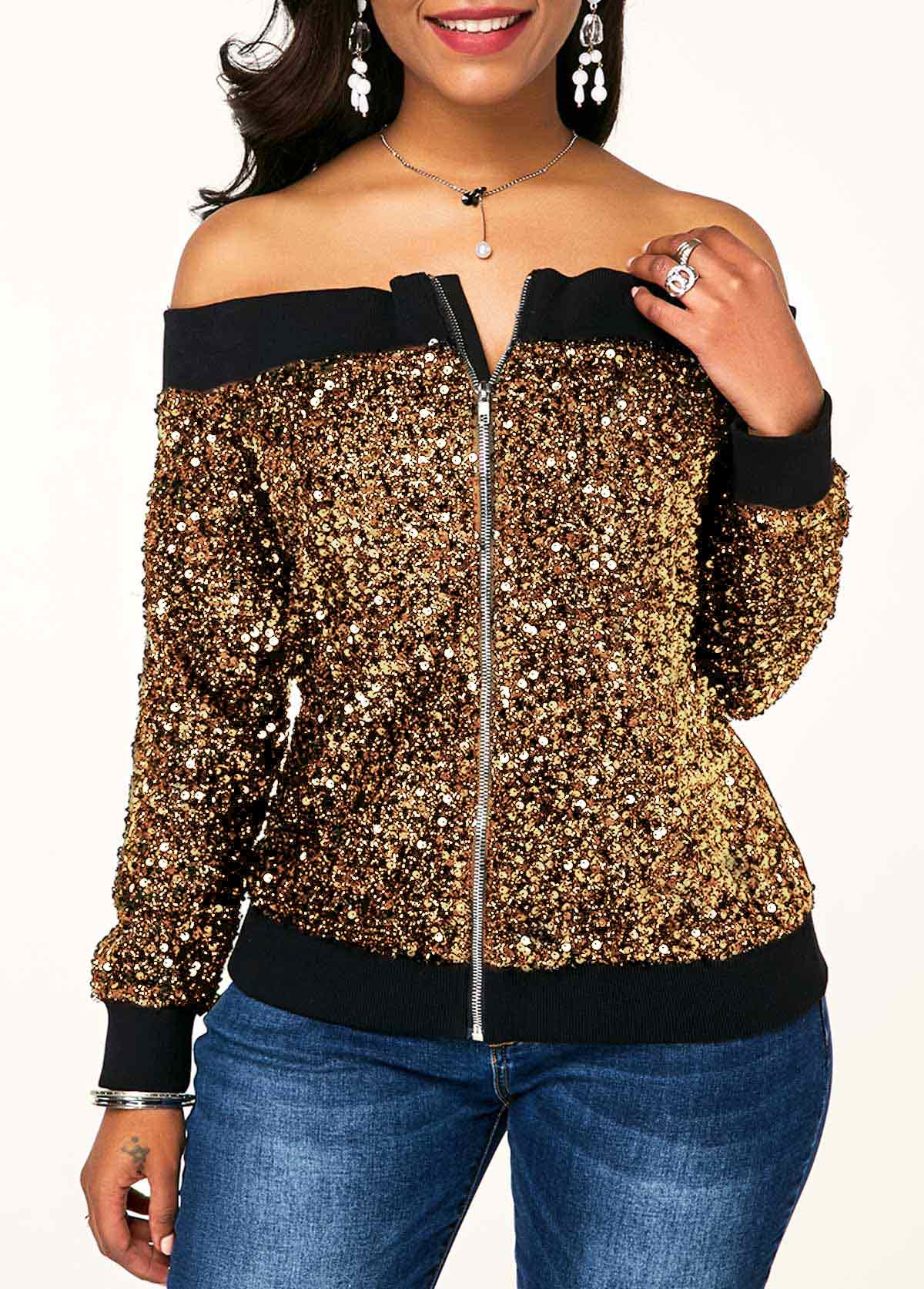 Off the Shoulder Zipper Front Sequin Embellished Sweatshirt