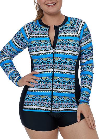 Plus Size Long Sleeve Zipper Up Tankini Top