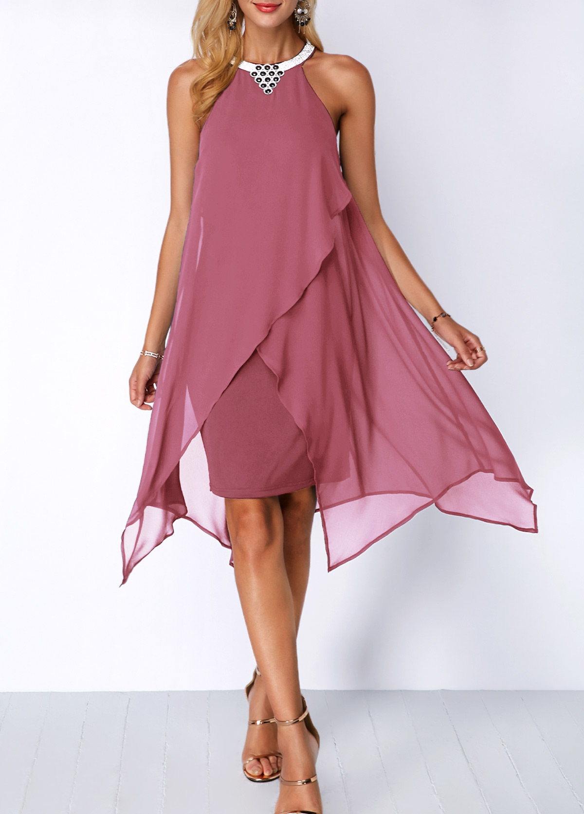 Chiffon Overlay Embellished Neck Asymmetric Hem Dress