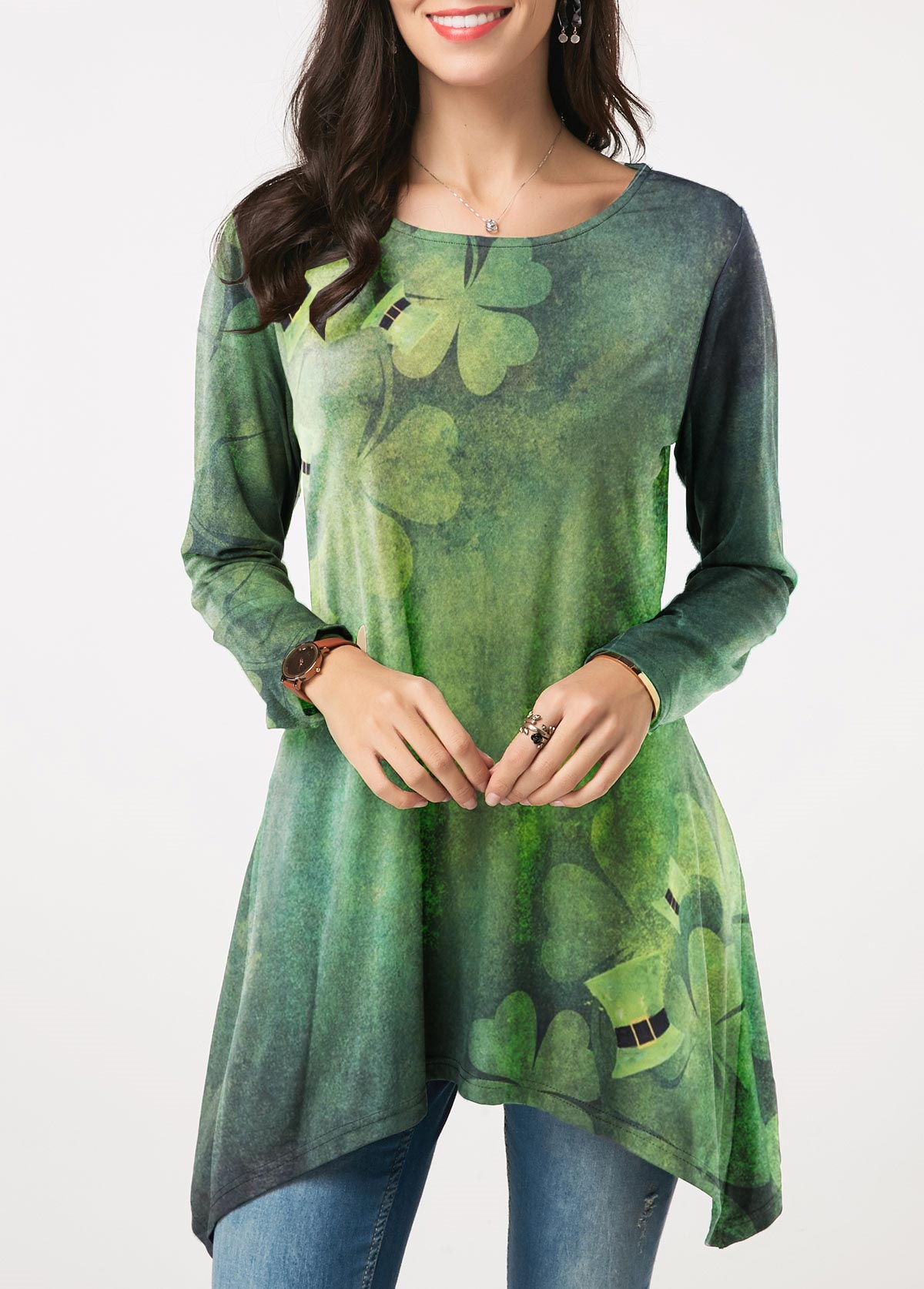 Clover Print Asymmetric Hem ST Patricks Day T Shirt