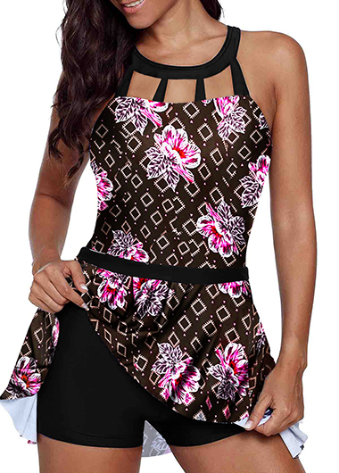Retro Flower Print Strappy Back Swimdress and Shorts