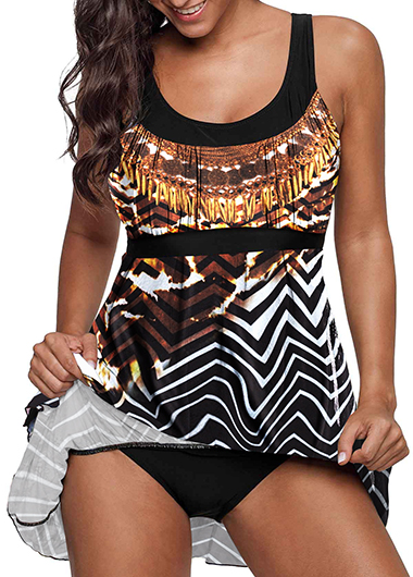 Scoop Back Bohemian Animal Print Swimdress and Panty