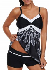 Twist-Front-Printed-Swimdress-and-Shorts