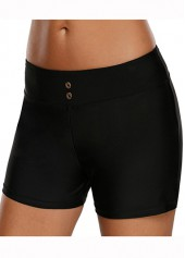 Mid-Waist-Solid-Black-Swimwear-Shorts