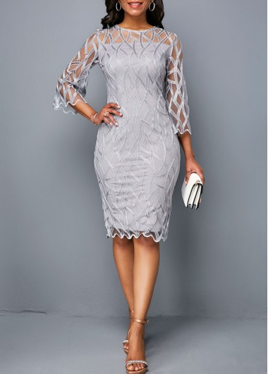 Homecoming Dress for Women Round Neck Three Quarter Sleeve Light Grey Dress - L