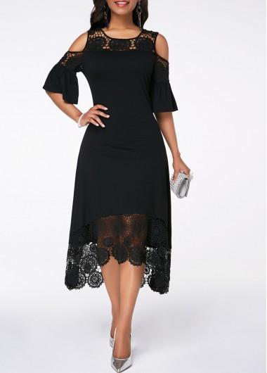 Cold Shoulder Flare Cuff Crochet Detail Dress