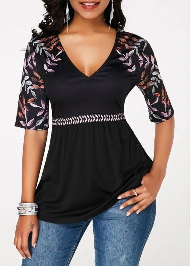 Half Sleeve Black V Neck Printed T Shirt - L