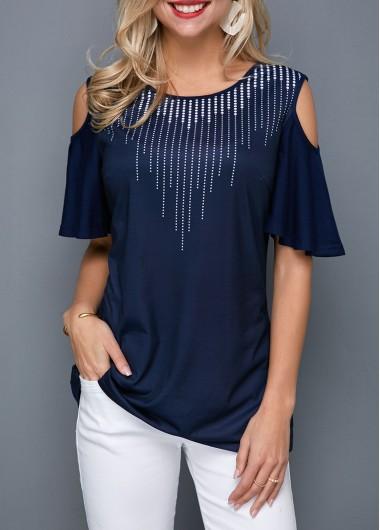 Women's Navy Blue Cold Shoulder Half Sleeve Printed T Shirt - L