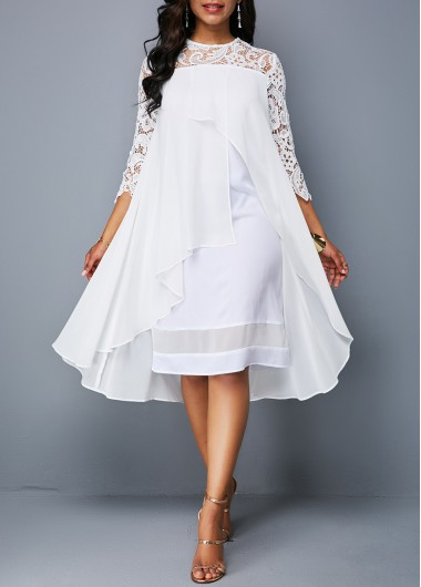 White 3/4 Sleeve Lace Panel Trapeze Dress White Asymmetric Hem Lace Patchwork Casual Dress - L