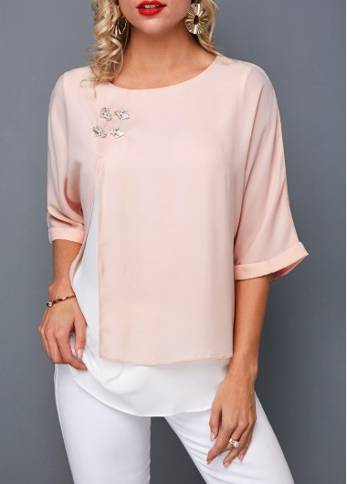 Women's Light Pink 3/4 Sleeve Layered Round Neck Casual T Shirt - L