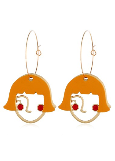 Image of Abstract Face Pendant Earrings for Lady