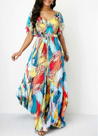Multicolor Printed Butterfly Sleeve Maxi Dress V Neck Butterfly Sleeve Printed Dress - L
