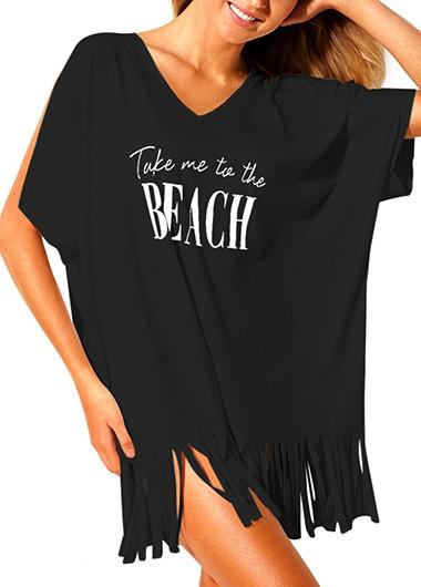 Beach Cover Up Swimwear Black Tassel Hem Letter Print Slit Sleeve Cover Up
