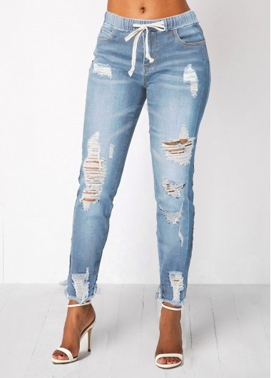 Women's Denim Jeans, Light Blue Shredded Elastic Waist Pocket Jeans