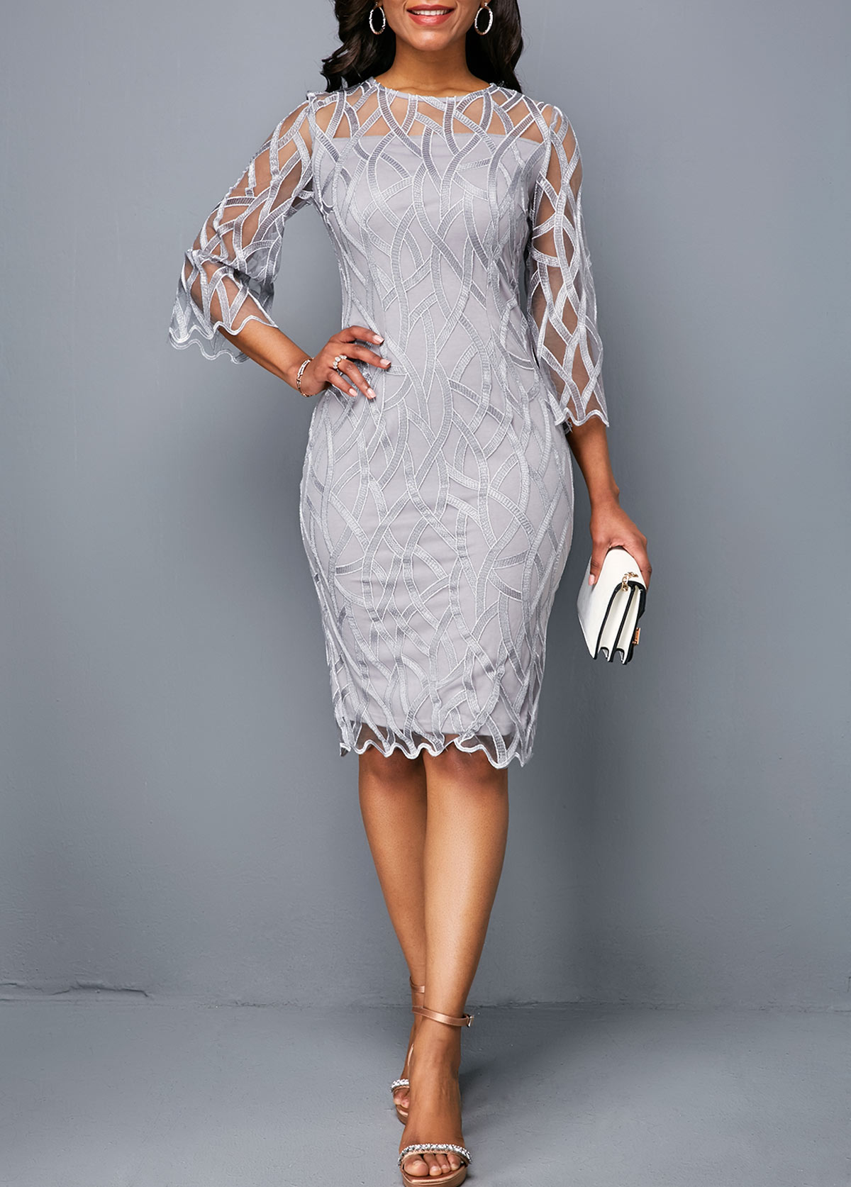 Round Neck Three Quarter Sleeve Light Grey Dress