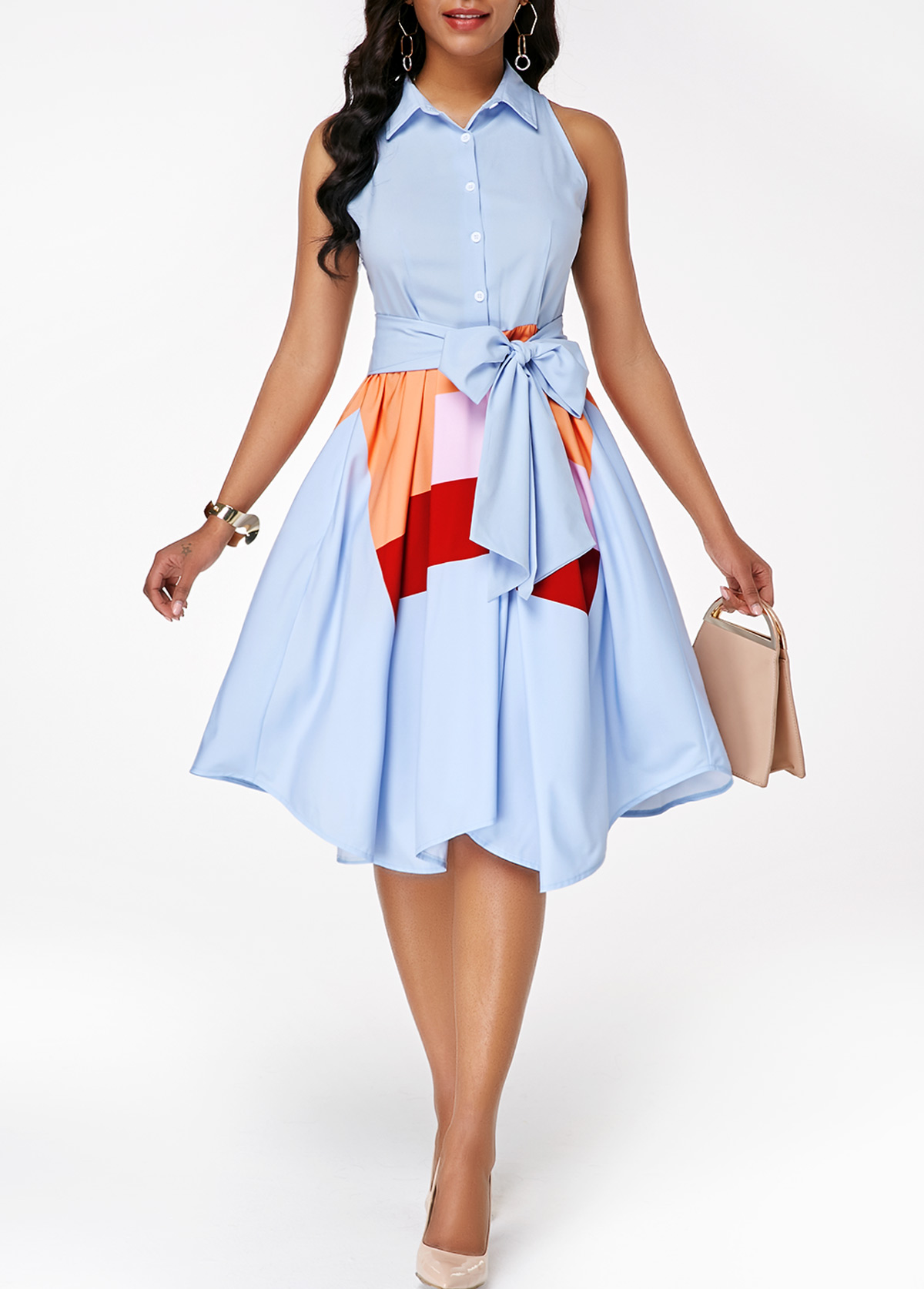 Button Front Sleeveless Asymmetric Hem Belted Dress