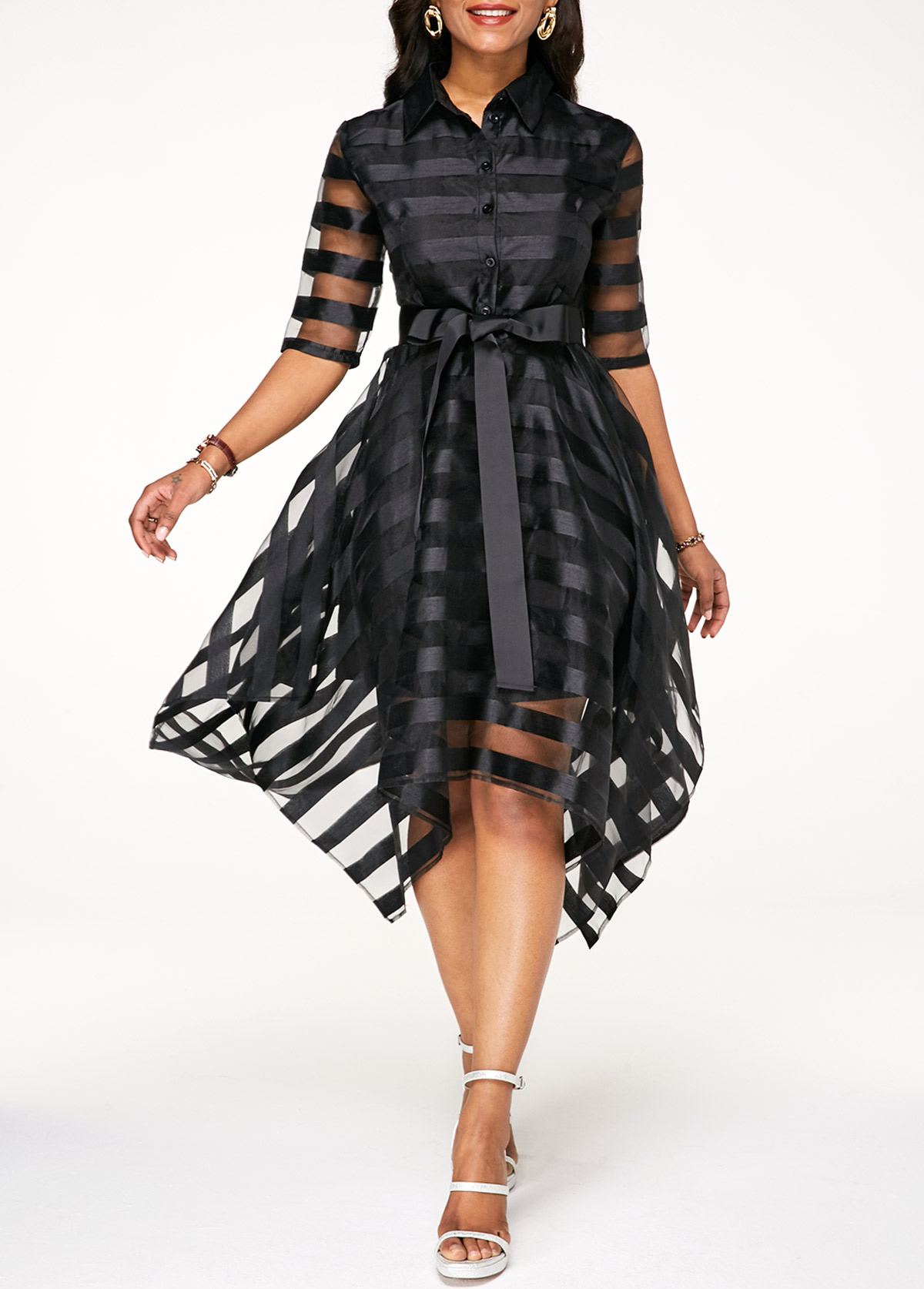 Sheer Striped Black Half Sleeve Belted Dress