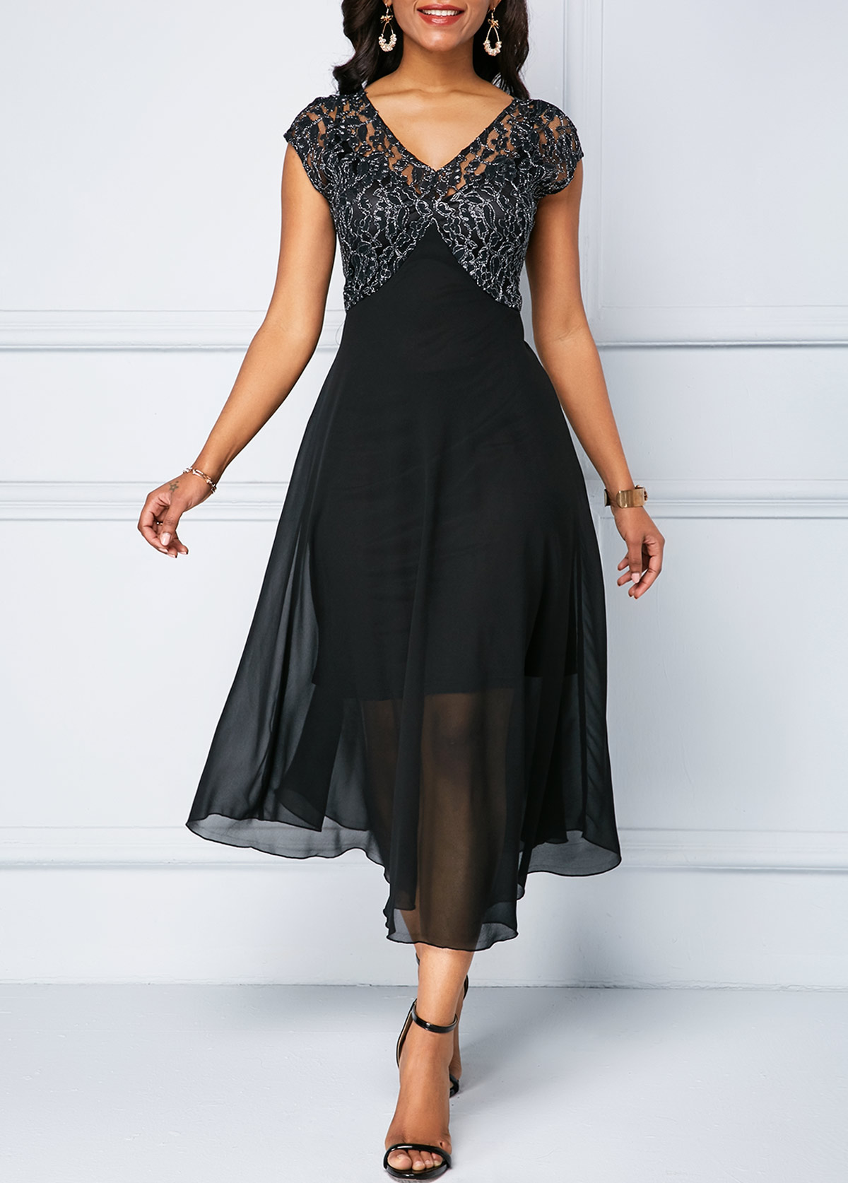 V Neck Cap Sleeve Lace Patchwork Chiffon Dress