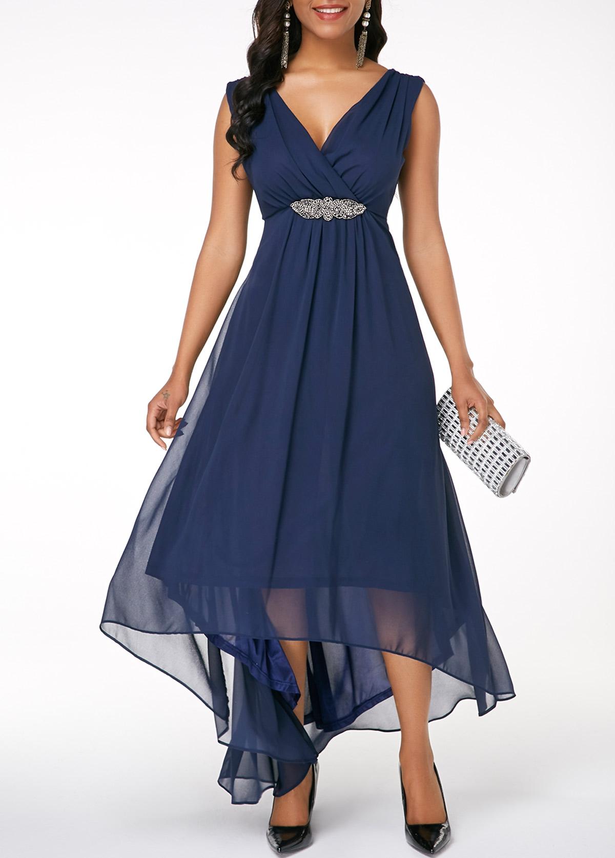 V Back Sleeveless High Low Navy Blue Dress